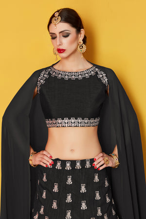 Elegant Black Bollywood Ghagra Choli Designs With Price