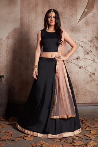 Black Taffeta Silk Fashionable Simple Indian Lehenga Blouse Online