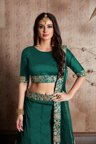 Graceful Green Taffeta Silk Indian Wedding Lehenga Choli