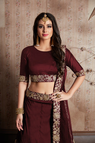 Maroon Taffeta Silk Dori Work Bollywood Lehenga Online Shopping