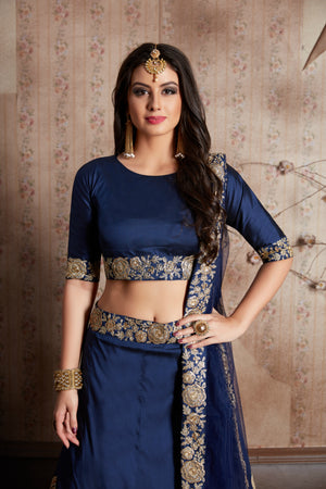 Navy Blue Taffeta Silk Party Wear Choli Lehenga Designs