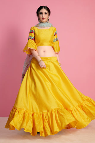 Stylish Yellow Banglori Silk Lehenga Choli Latest Indian Clothes Fashion