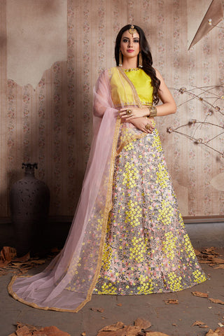 Chic Yellow Floral Work Latest Lehenga Choli Designs
