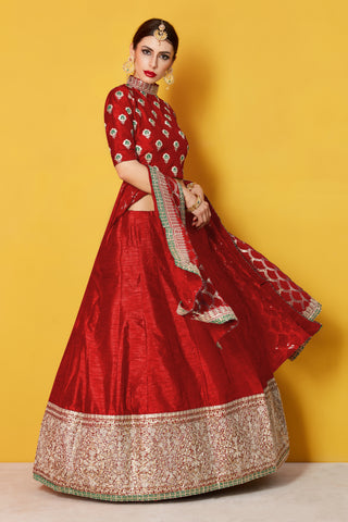 Red Art Silk Traditional Latest Design Lehenga Choli 122