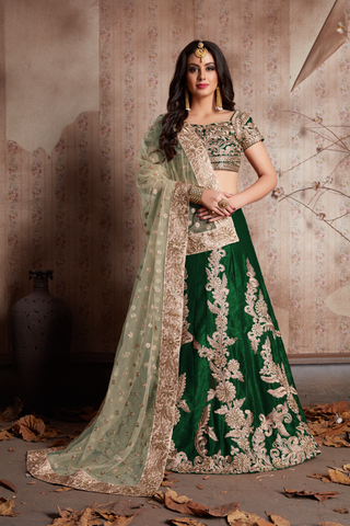 Green Lengha Choli Online Shopping For Bollywood Dresses