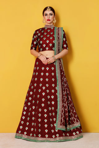 Maroon Butti Work Bollywood Style Lehenga Cholis Online Shopping