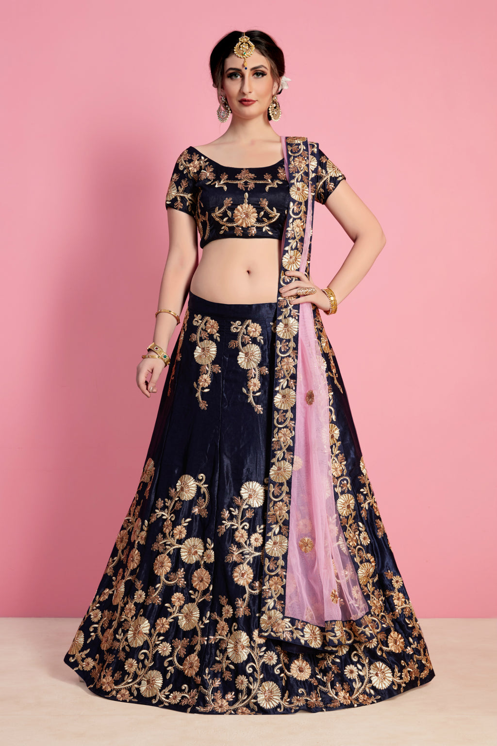 Navy Blue Velvet Silk Embroidered Bollywood Lehenga Designs