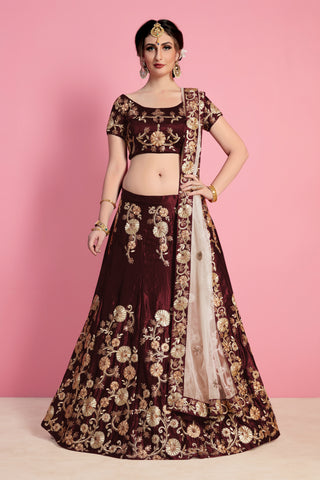Maroon Velvet Silk Embroidered Lehenga Choli Online