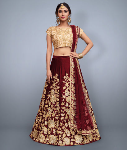 Maroon Embroidered Lehenga Choli Designs For Wedding Online