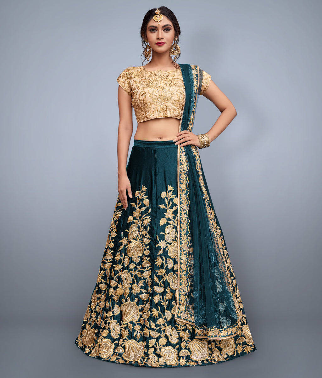 Lovely Teal Velvet Silk Embroidery New Indian Lehenga Choli Designs