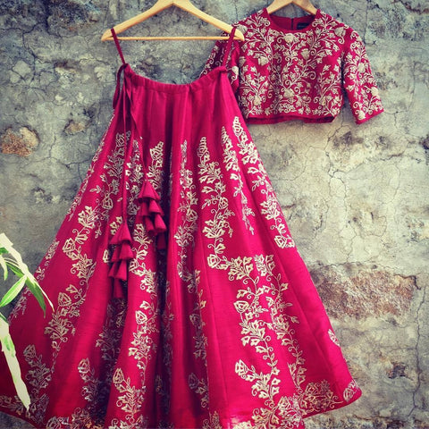 Deep Pink Art Silk Embroidery Bollywood Latest Wedding Lehengas
