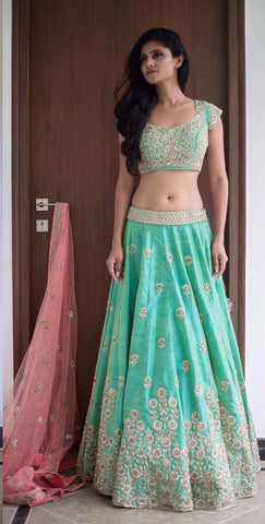 Sea Green Indian Traditional Wedding Lehengas Bollywood Style