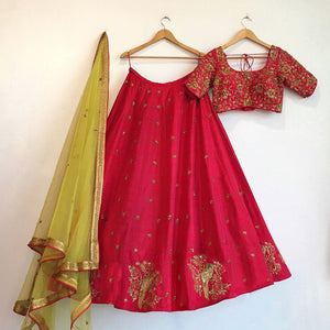Stylish Pink Art Silk Bollywood Lehengas Collection