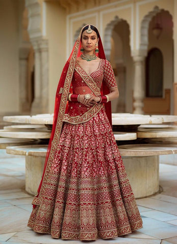 Bollywod Fashion Indian Lehenga Wedding Dress In Red Color