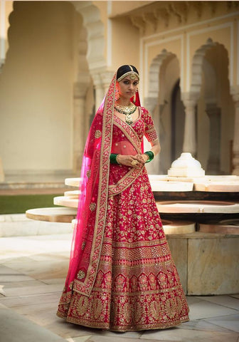 Bollywod Style Latest Design Of Wedding Lehenga In Pink Color