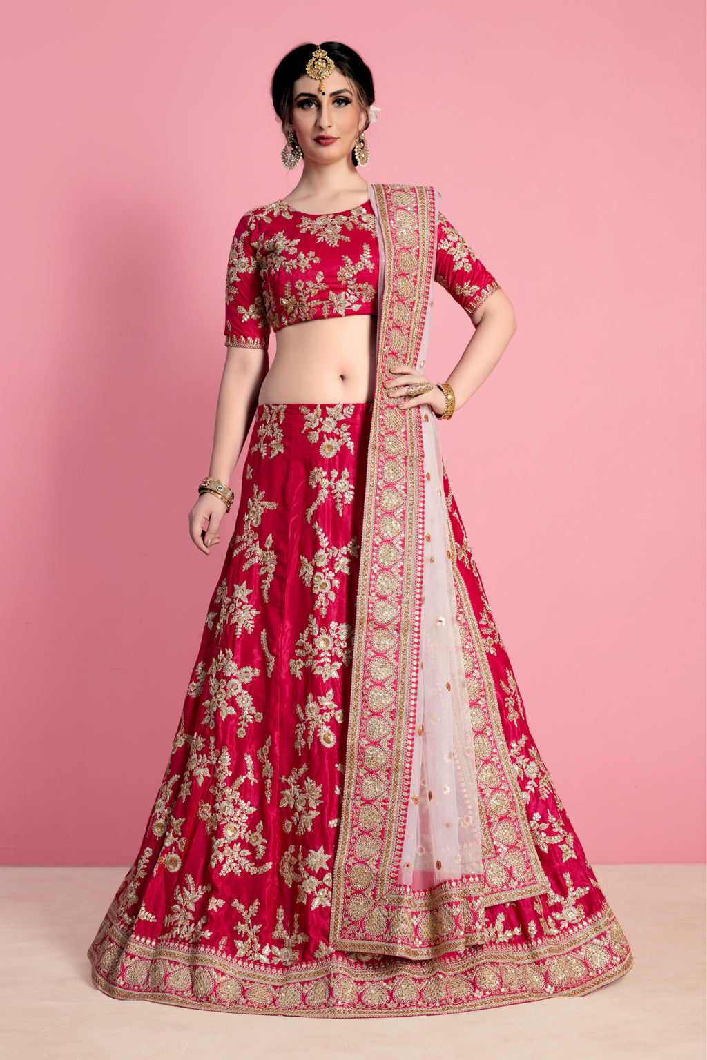Pink Velvet Silk Beautiful Wedding Wear Indian Lehenga Choli
