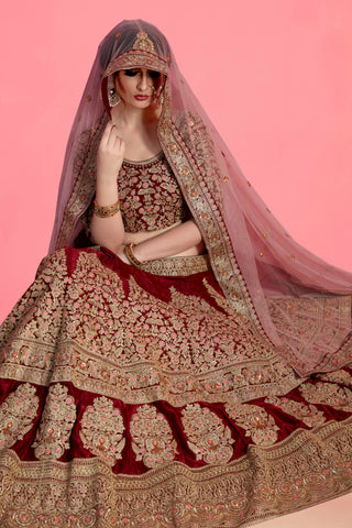 Maroon Velvet Silk Party Wear Indian Lehenga Blouse Online