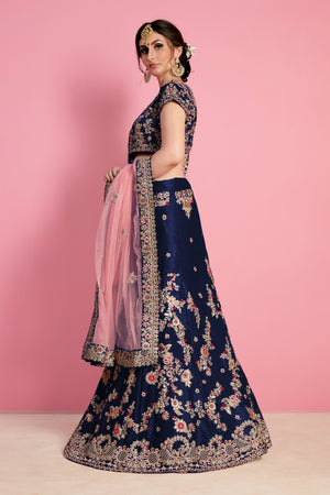 Beautiful Navy Blue Velvet Silk Embroidered Wedding Lehenga Choli