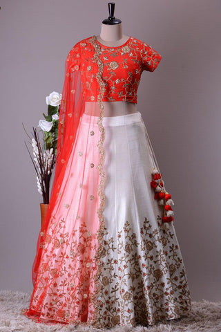 White Embroidered Silk Latest Party Wear Indian Lehenga Choli