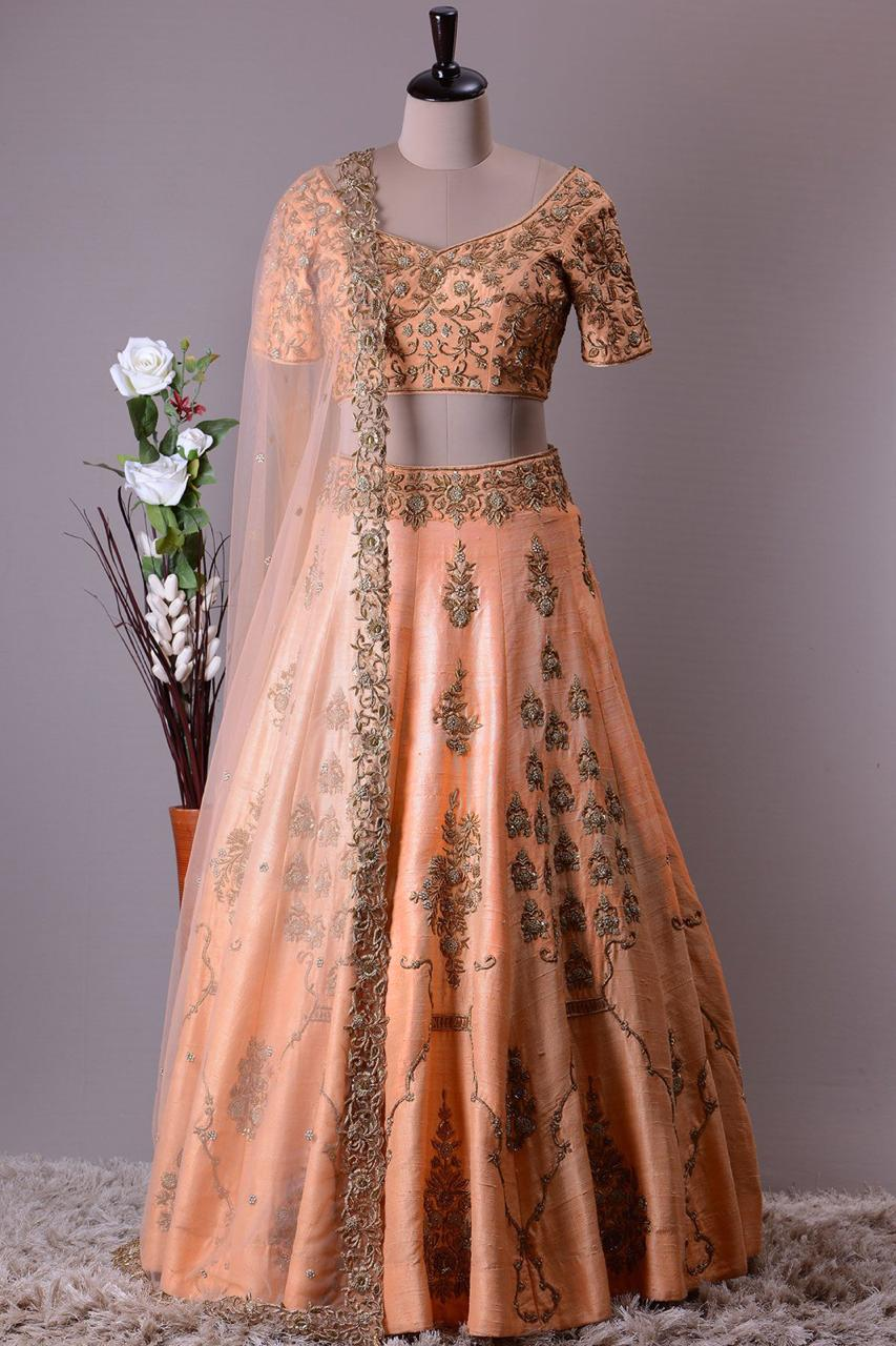 Pastel Orange Mulberry Silk Party Wear Indian Dress Lehenga