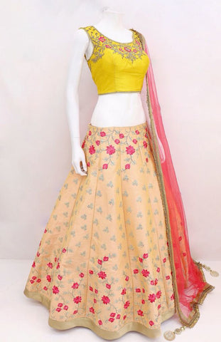 Peach Embroidered Silk Latest  Festive Lehenga Designs With Price