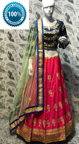 Pink Banarasi Silk Latest Ghagra Choli Designs For Festive Wear