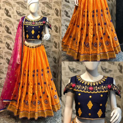 Yellow Embroidery Banarasi Silk Online Chaniya Choli Shopping
