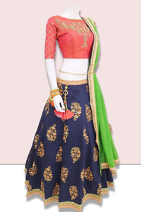 Navy Blue Silk Traditional Chaniya Choli Online Shopping