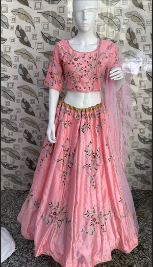 Pink Malai Satin Embroidered Womens Online Lehenga Choli Shopping