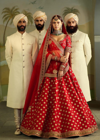 Red Banarsi Silk Designer Wedding Choli Designs For Lehengas