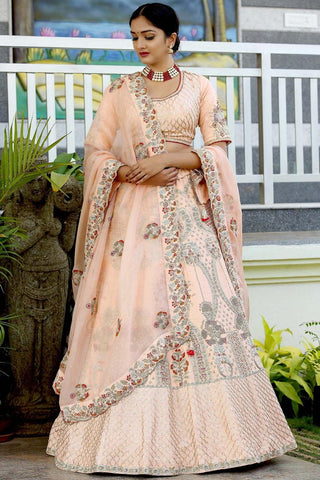 Peach Embroidered Raw Silk New Indian Wedding Lehenga Choli