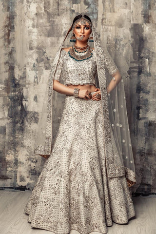 White Embroidered Malai Satin Wedding Lehengas Online Shopping India