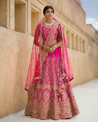 Charming Pink  Embroidered Silk Latest Wedding Lehengas Online Shopping
