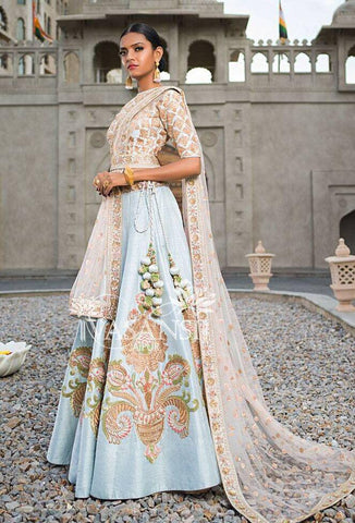 Pastel Blue Chanderi Silk Latest Lehenga Dress Online Shopping