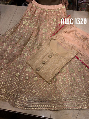 Beautiful Georgette Embroidered Lucknowi Salwar Suit Dress Design