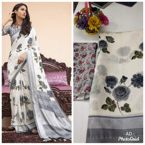 White Linen Digital Floral Print New Designs In Sarees