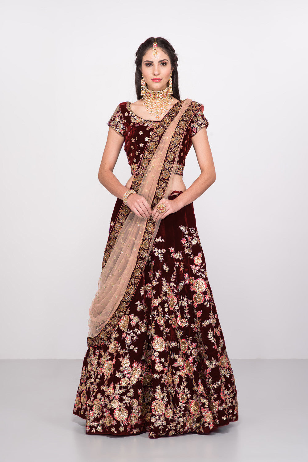 Maroon Embroidery  Online Shopping  Wedding Lehenga Choli 123