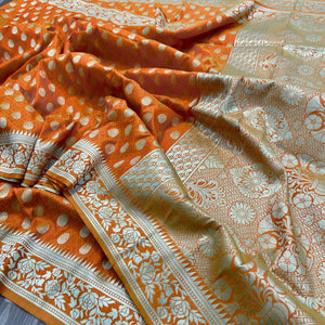 Burnt Orange Banarasi Fancy Saree Online Shopping