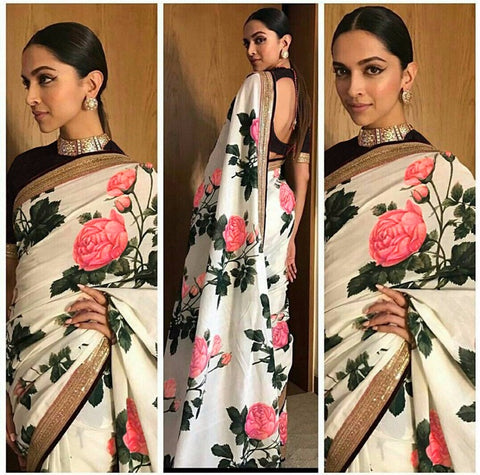 Deepika Padukone Floral Print Georgette Bollywood Replica Saree India