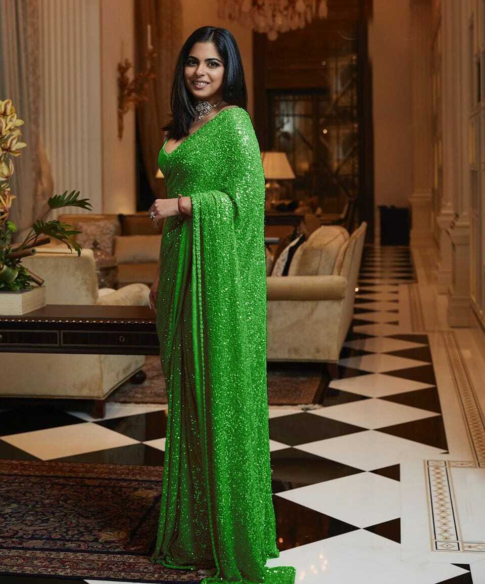 Green Sequins Party Saree in Georgette with Plain Silk Blouse