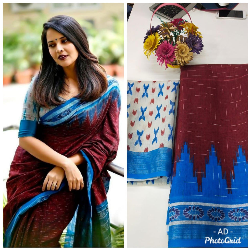 Deep Maroon And Blue Linen Digital Print Latest Indian Sari