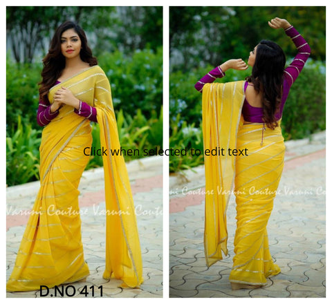 Yellow Georgette Latest Designs Women Party Wear Saree Online India