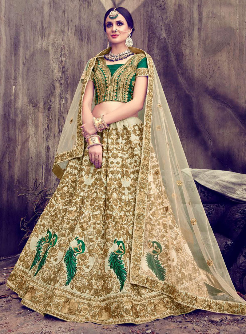 Beige And Green Silk Latest Wedding Lehenga Fashion In India