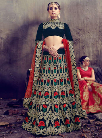 Dark Blue Velvet Embroidery Beautiful Lehenga Wedding Dresses Online