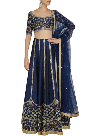 Blue And Gold Floral Embroidered Lehenga Choli Online Shop