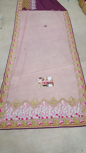 Pink Designer Georgette Bollywood Sarees Online Fashion ,Indian Dresses - 7