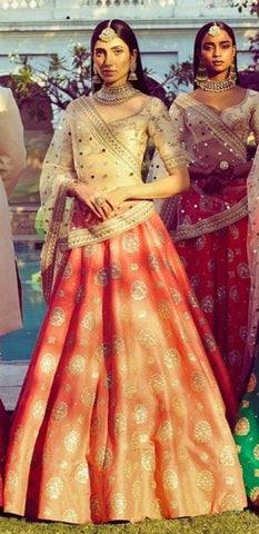 Tangerine Orange Indian Fashion Party Wear Lehengas Online