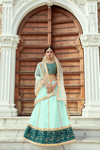 Sea Green Art Silk New Design Party Wear Lehenga Online Shopping