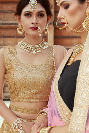 Beige And Gold Soft Net Lehenga Wedding Collection For Womens