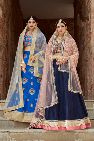 Latest Navy Blue Art Silk Party Lehengas Indian Dresses Online India